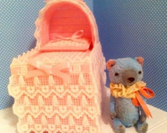 Baby Blue/Pink Bassinet- Yarn Cross Stitch Tissue Box Cover