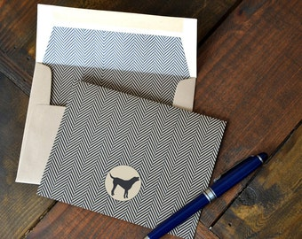 Men's Gift of Boxed Notes for Father's Day - Herringbone Pattern Set of 8 with icons of dogs, tools, beard, ties, guitar, headphones