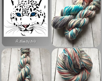 Worsted weight yarn - hand painted 218 yds Snow Cat- RTS