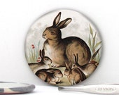 Vintage Rabbits with Bunnies Hand held Pocket Mirror , Magnet or Pin Badge - Wedding favors