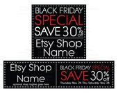 Etsy Cover Photo - Etsy Shop Covers - Black Friday Etsy Shop Covers - 2 Piece Etsy Shop Cover Set - Black Friday 2