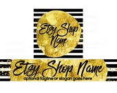 Shop Logo - Etsy Shop Banners - Etsy Banners - Geometric Etsy Banners - Gold Etsy Shop Banners - Etsy Banner Sets - 2 Piece - 7-16