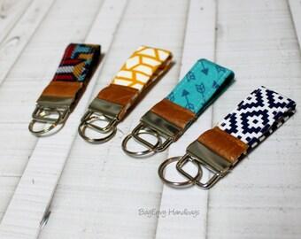Mini Key Fob - Aztec / Arrows with Vegan Leather - Choose Your Fabric - Sale
