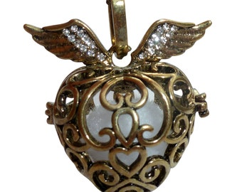 YOur perSOnal STYlish Essential oil necklace diffuser Steampunk Golden heart  d1 0
