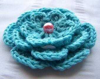 Crochet motif flower with bead 3 inch robin egg blue