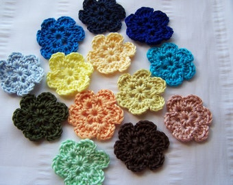 Flower crochet motif 1.5 inch cotton set of 13