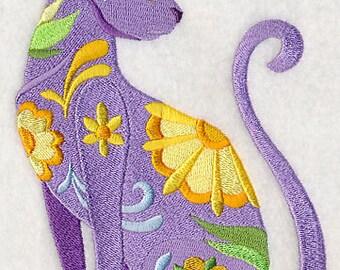 FLOWER POWER CAT - Machine Embroidered Quilt Block (AzEB)