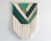 Woven Wall Hanging | Emerald Geometric Weaving