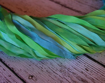 NeW - Hand Dyed Ribbon - SPRING MEADOW quarter inch wide ribbon, 5 yards