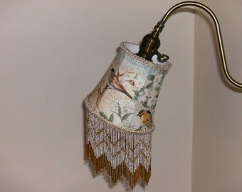 Bird and Butterfly Gooseneck Lampshade with Vintage Glass Bead Fringe