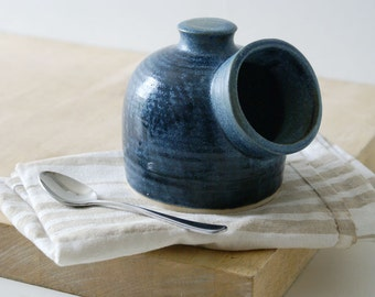 Minature pottery salt pig for your kitchen - wheel thrown and glazed in smokey blue
