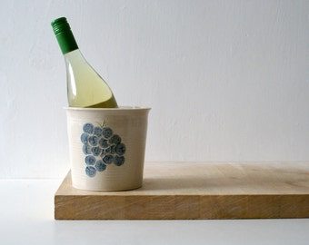 Hand thrown stoneware wine cooler - with grapes motif in simply clay