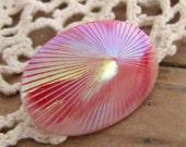 Large Iridescent Pink Glass Shell Pin