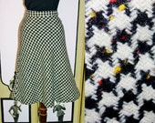 60's Black and White Houndstooth Wool Tulip Skirt with Red and Yellow Specks. Medium.