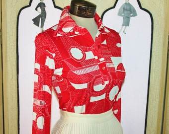 Vintage 1970's Funky Red and White Abstract Print Blouse. Small.