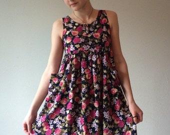 Summer Sale 90s Floral Dress, Babydoll Dress, Floral Summer Dress, Empire Waist Dress, Sleeveless Tank Dress, Tank Dress, Ditzy Floral Dress