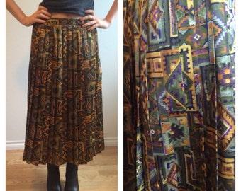80s Pleated Midi Skirt, Aztec Pattern, Accordian Pleat, Printed Skirt, Hipster, Boho, Size Medium Skirt, High Waisted Skirt, Neutral Colors