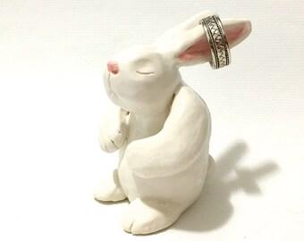 Rabbit Ring Holder, Ceramic Rabbit Cake Topper Keepsake, Hand-Built Rabbit Sculpture