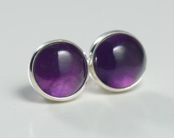 amethyst 7mm sterling silver stud earrings