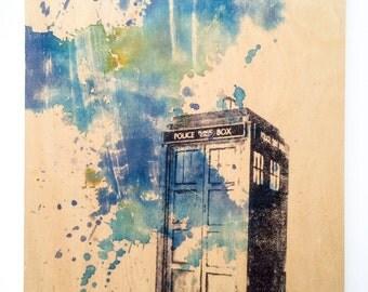Wood Panel Doctor Who TARDIS Print on Wood 8x10 in Doctor Who Art Print On Wood Panel TARDIS