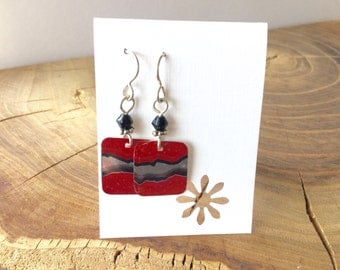 Recycled monster drink can earrings