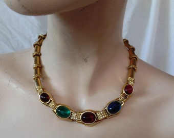 Sale Vintage Ciner Multi-Color Stones Necklace