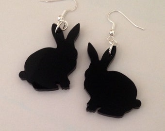 Animal Shape Jewelry, Bunny Rabbit Earrings, Black Acrylic Plastic, Lasercut Earrings, Gift for Her
