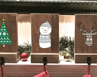 stocking holders, reclaimed wood, set of 6, rustic Christmas, fair isle pattern, mantle decor, stocking hooks, pet stocking, stocking holder