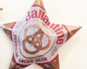 Vintage Ballantine Beer Can Stars. Set of 2 Rusty Old Beer Collectors Cans Made into Christmas Ornmaments
