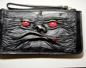 Genuine Leather Long Black Clutch Women Zipper cowhide Purse Wallet Card Holders.