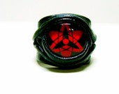 Anime leather ring. Statement ring. Leather ring.