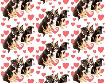 "German Shepherd dog ""puppy love"" fabric"
