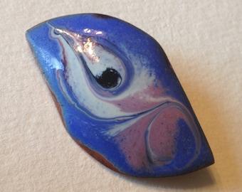 Enamel on Copper Brooch MAEB Ireland Blue Lavender White