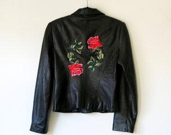 Rose Jacket / Black Leather Jacket S / Patch Jacket / Leather Jacket Sz S
