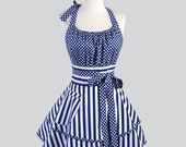Flirty Chic Womens Aprons / Stripes and Dots Mix it Up in Navy Blue and White to offer you a Cute and Flirty Retro Kitchen Cooking Apron