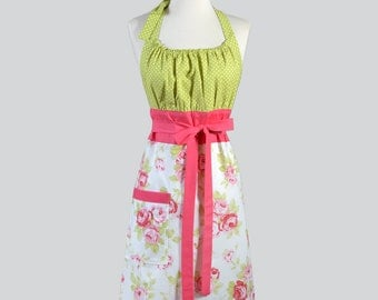 Cute Kitsch / Pink and Green Rose with Lime Polka Dot Bodice Womens Vintage Style Chef Apron