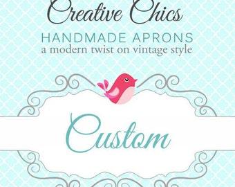 Custom Listing for Deborah  Sweetheart Flirty Apron / Fabrics Solid Pink and Camo Green Trims