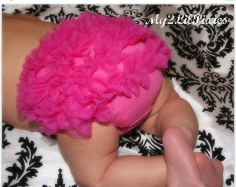 Sale HOT PINK Chiffon Ruffle Baby Bloomer USA Free Shipping- Baby Girl- Chiffon Ruffle Bum Baby Bloomer -Photo Prop-  20 Colors Available