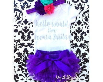 Baby Girl Take home outfit, Bloomer, Onesie and Headband set- Hello World, Newborn baby Girl Onesie, Personalized Newborn Set baby clothing