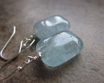 Baby Blue Quartz Earrings, Puffed Gemstone Rectangles, 925 Sterling Silver, Something Blue, Modern, Simple, Clear Quartz, Canadian Seller