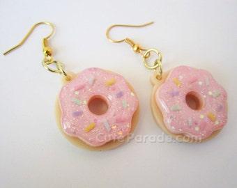 Pink Sugar Icing Sprinkle Donut Earrings Glittery Pastel Kawaii Lolita Fairy Kei Doughnut