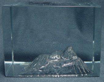Strombergshyttan Glass Paperweight Intaglio Mountain Glass Block