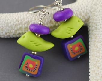Folk Art Polymer Clay Birdy Earrings, lime green, orange, purple.