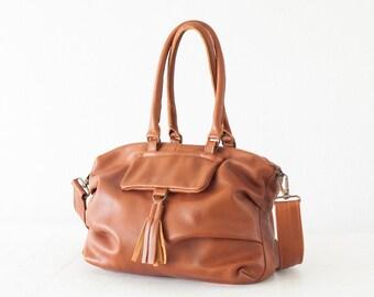 Crossbody bag brown leather, messenger purse handbag satchel bag shoulder bag  crossover bag - Ariadne bag