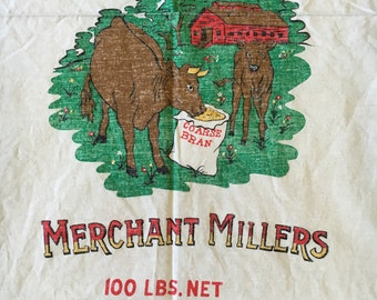 FREE shipping to US addresses only: Vintage Muslin Feedsack printed apron to sew.