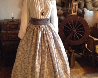 Civil War Pioneer Colonial Gray and White Print Skirt Blouse and Sash