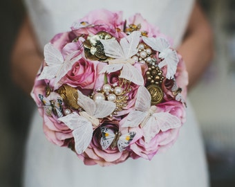 Brooch bouquet, rhinestone bouquet, Butterfly Bouquet, bridesmaid bouquet, fairy bouquet, pink bouquet, vintage bouquet, alternative bouquet