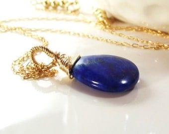 Navy Blue Lapis Teardop Necklace-14k Gold Necklace-Authentic Lapis Pendant-AdoniaJewelry
