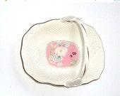 VALENTINES SALE Vintage Mikasa ,Bridal Basket,  Fine Bone China, Narumi Japan Pink Botanical B2020, Gold Accents      I Take Credit Cards