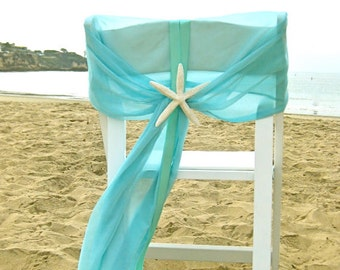Beach Wedding - Aqua Chiffon Chair Caps with Starfish or Sand Dollars - Set of 2 - Coastal Nautical Sweetheart Table Chair Decoration